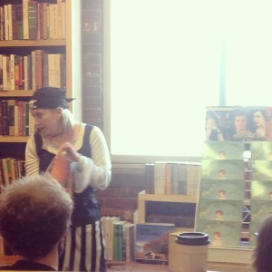 Me reading Quentin's Problem to the kiddos at McQuixote Books & Coffee in Louisville, KY.